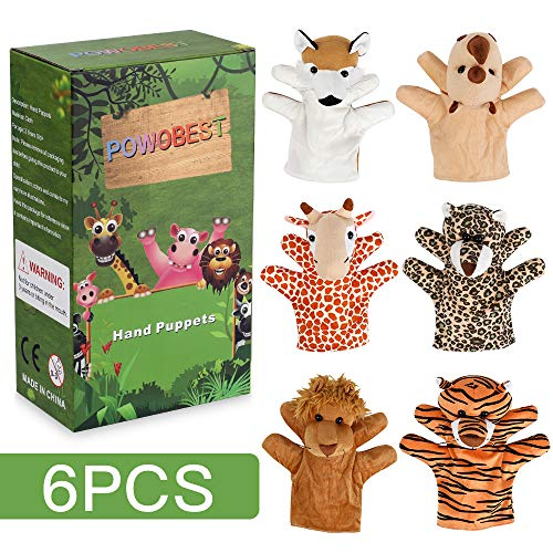 POWOBEST Animal Hand Puppets 6-Piece Set - Premium Quality with Movable Open Mouths, Soft Plush Hand Puppets for Kids,African Jungle Animals -Perfect for Storytelling, Teaching, Preschool (Type 5) Big Mouth Animal Puppets