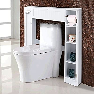 Giantex Over-The-Toilet Rack Bathroom Shelf Storage Cabinet Wooden Drop Door Freestanding Spacesaver Improvements, White - 【Giantex Over-the-Toilet Bathroom Storage Cabinet】: This clever and versatile bathroom spacesaver allows you to utilize extra space for all your bathroom storage needs. The generous center cabinets and two side cabinets allow you to organize and separate your personal products. 【Paper Holder Design】: Paper holder, one fixed shelf and two adjustable shelves behind each side cabinet. Allows you to utilize extra space for all your bathroom storage needs. 【Space Saving Design】: A pull-down door at the center for holding some bath items. The cabinet provides excellent storage solutions for bathrooms with limited space. - shelves-cabinets, bathroom-fixtures-hardware, bathroom - 51kHJYLVRlL. SS400  -