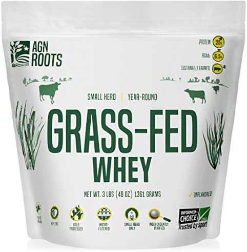AGN Roots Grassfed Whey Protein Certified Brand List ASPCA Certified Entire Life On Pasture Grass Fed Unflavored Informed Choice Sport Sustainably Farmed Certified by A Greener World