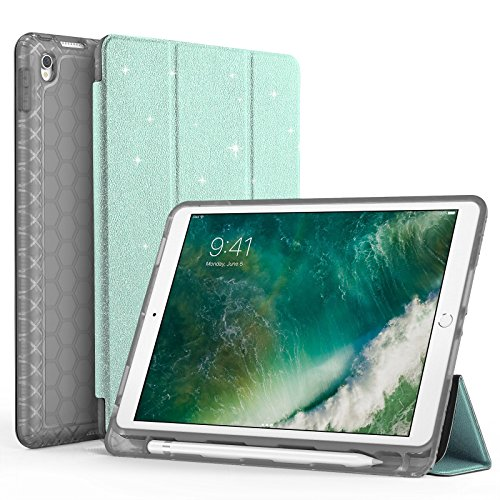 SWEES Compatible iPad Air (3rd Gen) 10.5 2019 / iPad Pro 10.5 2017 Case, Glitter Bling Slim Full Body Protective Smart Cover Leather Case Shockproof with Stand Built-in Apple Pencil Holder, Green