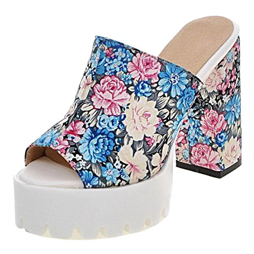 Peep Fashion Block Women Blue Toe TAOFFEN Mules Heel Sandals 5Xq6KUyywE