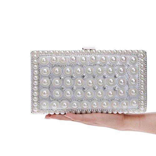 NAOMIIII Mujeres Elegante Perla De Las Señoras Noche Nupcial Fiesta Diamante Boda Pequeña Bolsa De Embrague Silver