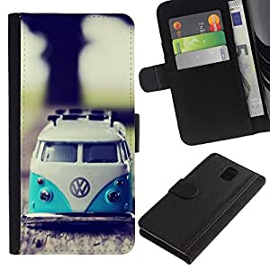 NEECELL GIFT forCITY // Billetera de cuero Caso Cubierta de protección Carcasa / Leather Wallet Case for Samsung Galaxy Note 3 III // VW Hippy Van