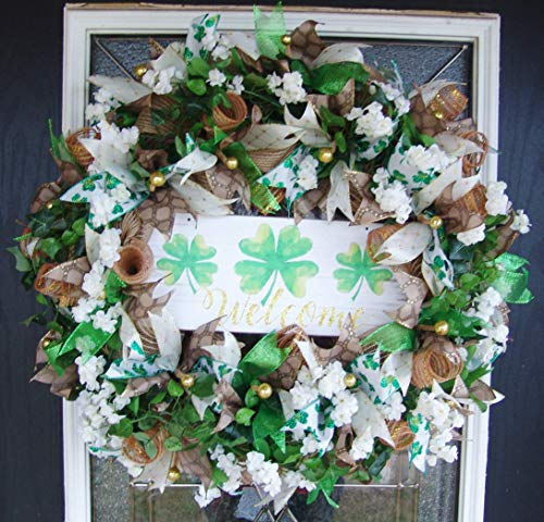 (XL Beautiful Floral St. Patricks Day Deco Mesh Front Door Wreath, Outdoor Indoor Porch Patio Wall Decor, Spring Decoration, March Shamrock)