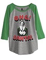Ripple Junction Elf OMG! Santa! 3D Text Junior Baseball Raglan 3/4 Sleeve