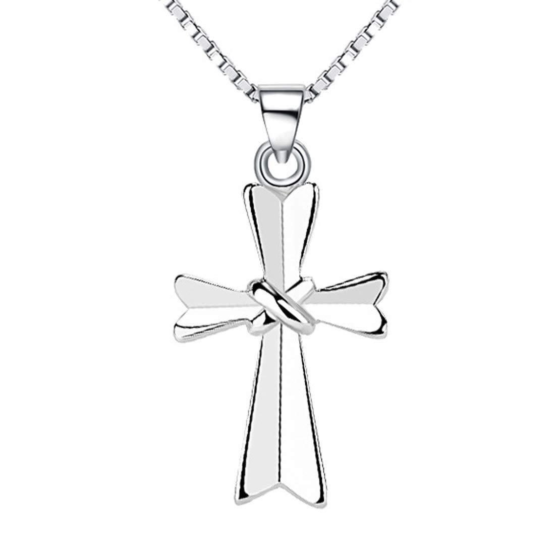 925 Sterling Silver Jesus Christ Religion Cross Pendant Enhancer 18'' Chain Women Girls Teens by Chaomingzhen