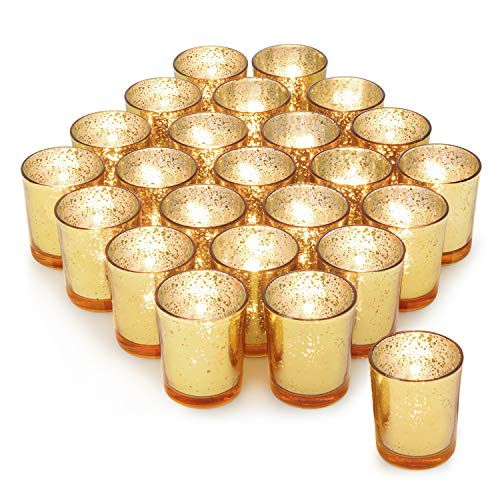 Gold Votive Candle Holder Set of 24 ,HabiLife Mercury Glass Tealight Candle Holder,Adds The Perfect Ambiance to Your Wedding/Home Decor (Mercury Light Holders Glass Tea)