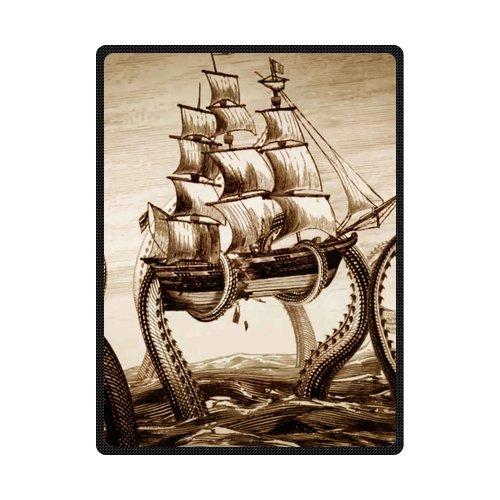Custom Hot Sale Fashion Fleece Blanket Octopus pirate ship 58