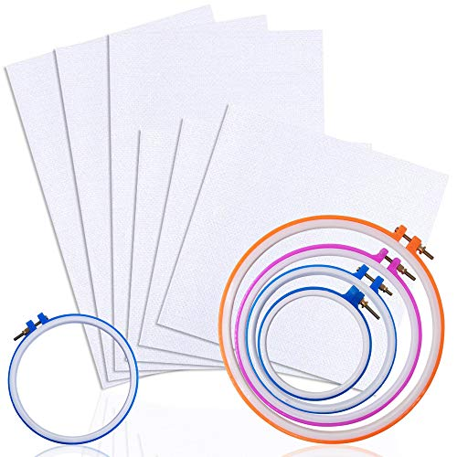 Set of 11, Classic Reserve Aida Clothwith Embroidery Hoops, findTop Cross Stitch Fabric Cloth (11 Count, White) and Plastic Circle Cross Stitch Hoop Ring 5.1 inch to 9.8 inch