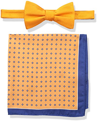 Tommy Hilfiger Men's Solid and Micro Neat Pre-Tied Bow Tie and Pocket Square Set, Orange, One Size (Tommy Hilfiger Bow Tie And Pocket Square Set)