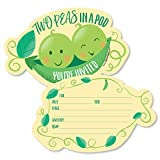 Double the Fun - Twins Two Peas in a Pod - Shaped Fill-In Invitations - Baby Shower or First Birthday Party Invitation Cards with Envelopes - Set of 12