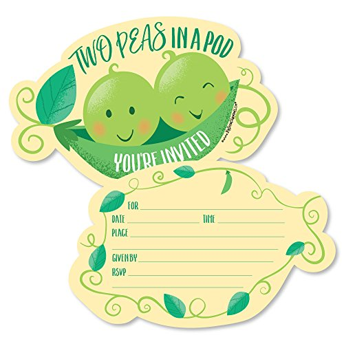 (Double The Fun - Twins Two Peas in a Pod - Shaped Fill-in Invitations - Baby Shower or First Birthday Party Invitation Cards with Envelopes - Set of 12)