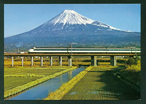Bullet Train Tokaido Rail Line Mishima Snow-Capped Mt. Fuji Japan Japanese Vintage Postcard