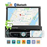 Car Stereo Autoradio Single DIN in-Dash DVD AM/FM Receiver with 7-Inch Flip-Out Touchscreen Monitor and USB/SD Input/GPS Navigation/Bluetooth/MP5 Player by UNITOPSCI