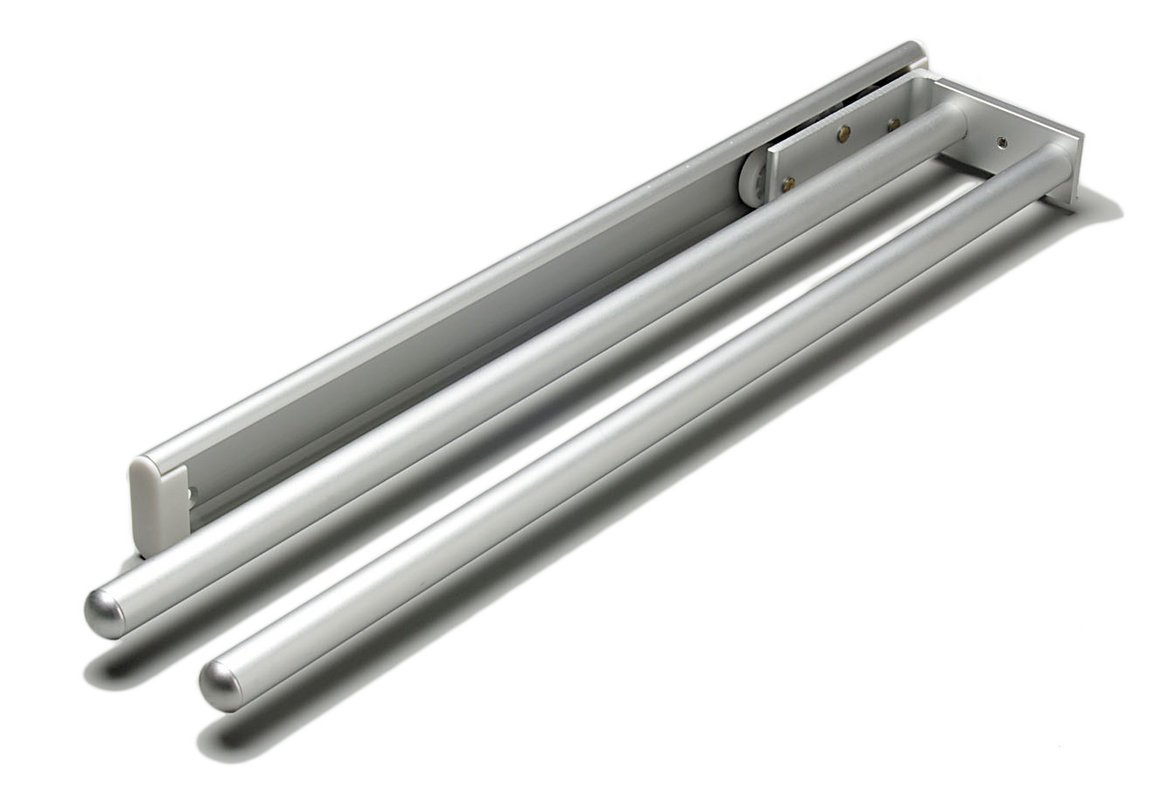Hafele 510.54.21 2-Arm Side or Under Mount Aluminum Pull Out Towel Rack, Silver Anodized 510.54.921