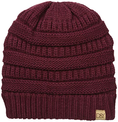 D&Y Women's David & Young's Solid Slinky Beanie, Burgundy one Size