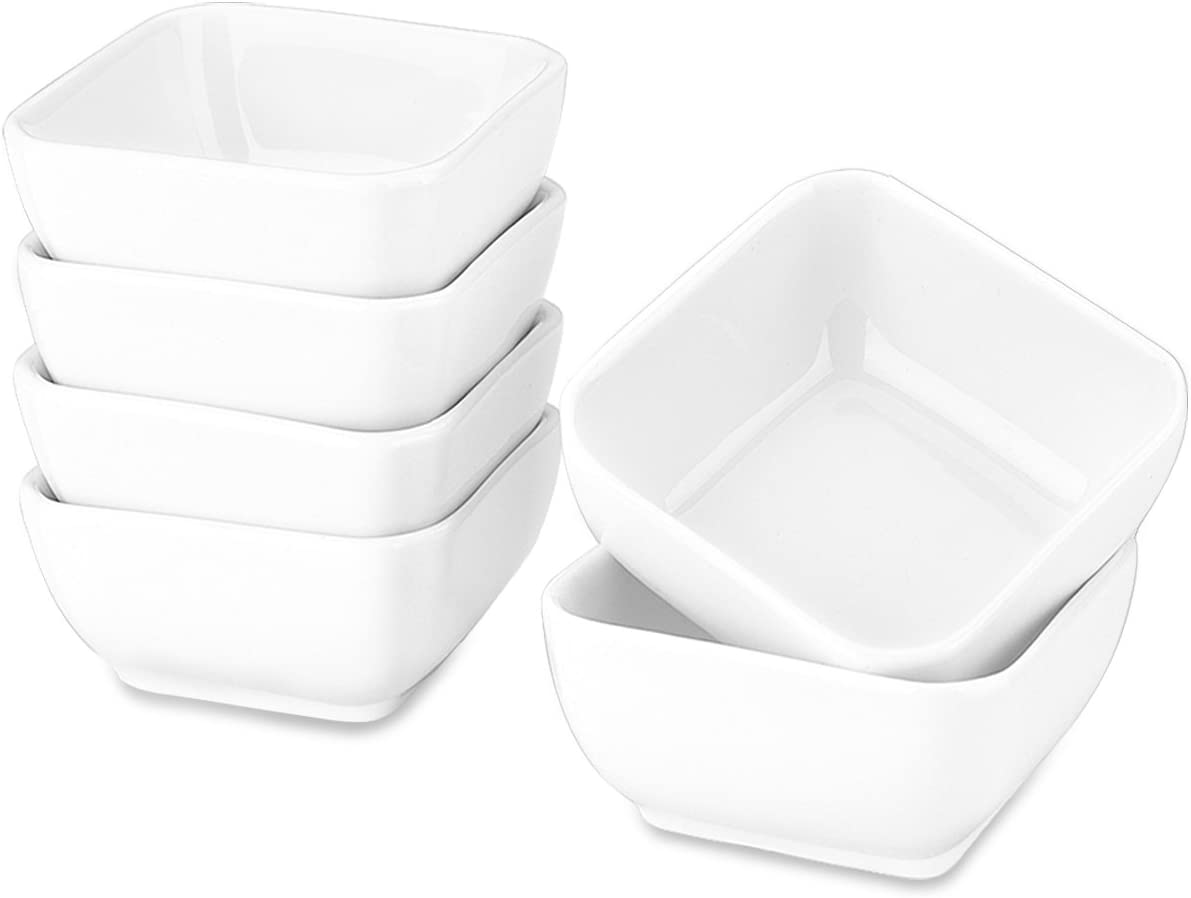Delling Ultra-Strong 3 Oz Ceramic Dip Bowls Set, White Dipping Sauce Bowls/Dishes for Tomato Sauce, Soy, BBQ and other Party Dinner - Set of 6