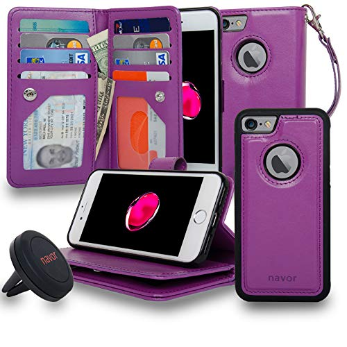 navor Magnetic Detachable Wallet Case and Universal Car Mount, RFID Protection, 8 Card Pockets, 3 Money Pockets Compatible for iPhone 7 & 8-4.7 Inch [JOOT-3L]- Purple (IP73LPP)