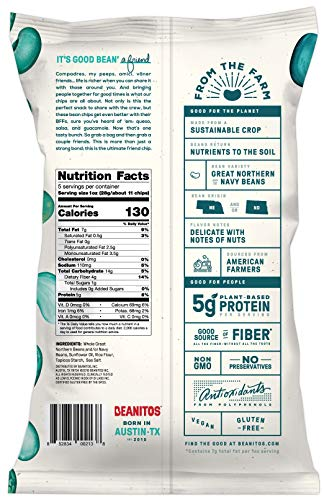 Beanitos White Bean Chips, Restaurant Style, 5 Ounce - Vegan and Gluten Free (Pack of 6)