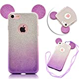 iPhone SE 5 5S Case Cover,TYoung Ultra Thin Slim Transparent Soft TPU Flexible Silicone Bling Glitter Sparkle Ear Cover [Anti-Scratch] with Lanyard Strap for iPhone SE 5 5S - Purple
