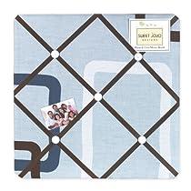 Blue and Brown Geo Fabric Memory/Memo Photo Bulletin Board by Sweet Jojo Designs