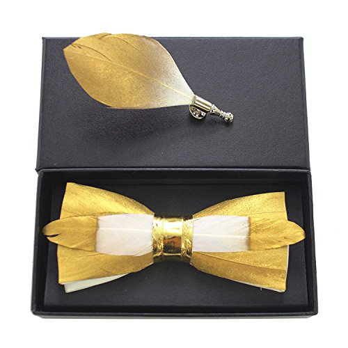 RBOCOTT Mens Handmade Feather Pre-tied Bow tie and Brooch Sets (gold)