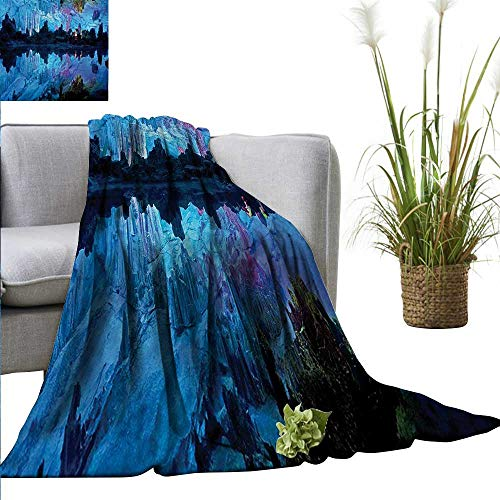 (homehot Natural Cave Faux Fur Throw Blanket Illuminated Reed Flute Cistern with Artifical Crystal Palace Myst Cave Image Print Anti-Static Throw 54