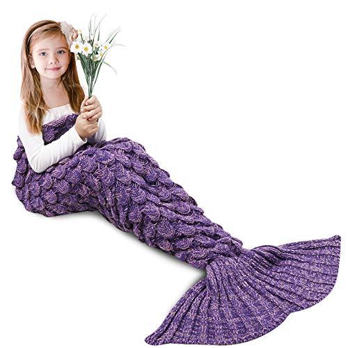 AmyHomie Mermaid Tail Blanket, Mermaid Blanket Adult Mermaid Tail Blanket, Crotchet Kids Mermaid Tail Blanket for Girls (ScalePurple, Kids)