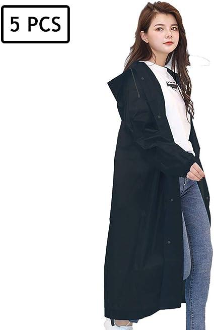 5pcs Adult Raincoat  Transparent Waterproof Plastic Reusable  Rain Poncho