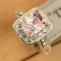 Aisamaisara Charm Women 925 Silver Pink Sapphire Square & CZ Gemstone Rings Jewelry #6-10 (9)