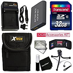 Pro 32gb Accessories Kit For Sony Cyber-shot Dsc-wx500, Dsc-hx90v, Dsc-wx350, Dsc-wx300, Dsc-hx50v, Dsc-hx300 Includes 32gb High-speed Memory Card + Np-bx1 Battery + Acdc Charger + Fitted Case + More