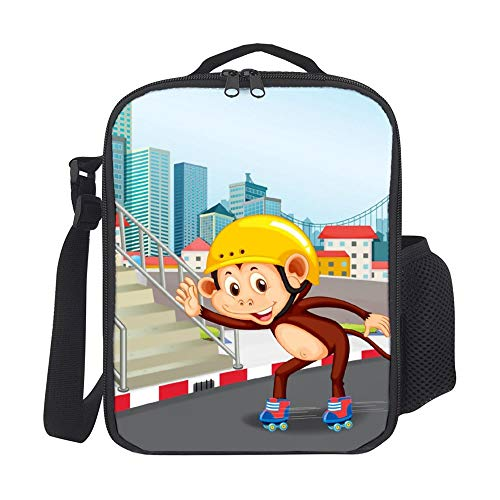 SARA NELL Monkey Playing Roller Skate Kids Lunch Box Insulated Lunch Bag Large Freezable Lunch Boxes Cooler Meal Prep Lunch Tote with Shoulder Strap for Boys Girls ()