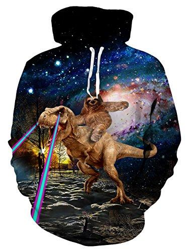 - Leapparel Men 3D Printed Hoodies Pullover Funny Graphic Dinosaur Sloth Sweatshirts Fleece Hoody Size XL