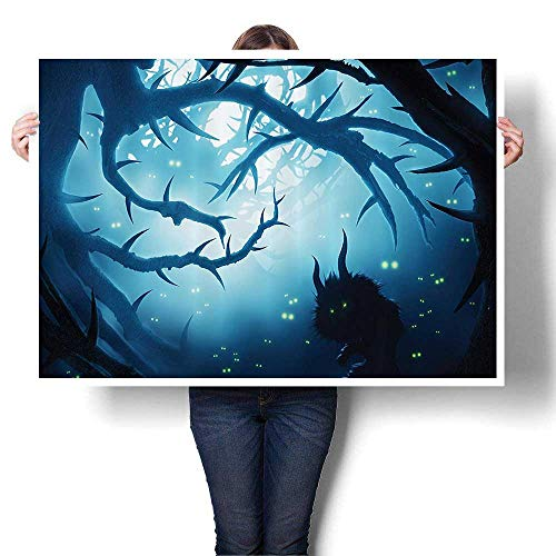 Canvas Wall Art Animal with Burning Eyes in Dark Forest Night Horror Halloween Artwork Wall Decor,44