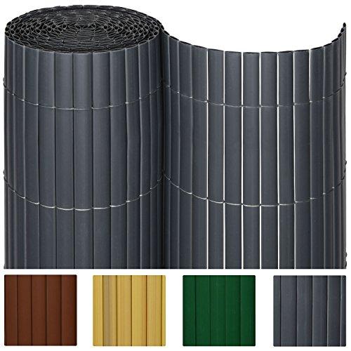 Sol Royal® PVC Sichtschutz-Zaun - 140x400cm in Anthrazit - Kunststoff-Matten für Garten oder Balkon - alle Größen