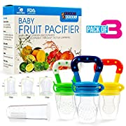Baby Fruit Pacifier Feeder (3 Pack) - Fresh Fruit Nibbler, Infant Teething Toy Theether - Baby Food Feeder Extra Tooth Brush - Child Proof Side Clip Secure Feeding Pacifier - Lasting nipple Snotter