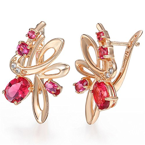 Trendy Knot Rose Girls Womens Stud Earrings 585 Rose Gold Filled Snap Closure GE82