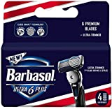 Barbasol Ultra 6 Plus Manual Men's Razor Blade Refills, 4 Count,...