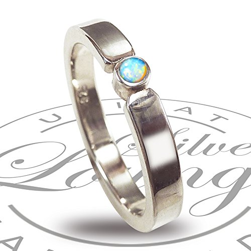 Engagement ring made of sterling silver with opal blue-green - promise...