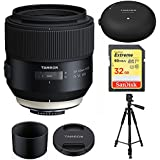 Tamron 85mm F/1.8 Di VC (Vibration Compensation) AutoFocus Ultra Silent Drive (model F016) For NIKON FULL FRAME DSLR CAMERAS With BONUS Tamron Tap-In Console, Sandisk 32GB Extreme SD Memory UHS-I Card