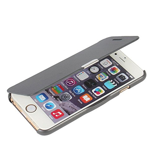 iPhone 6 case, iPhone 6s case, MTRONX™ Magnetic Ultra Folio Flip Slim Leather Twill Case Cover Pouch for Apple iPhone 6 iPhone 6s - Gray(MG-GY)