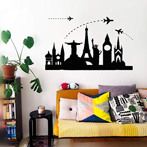 Funny-mural Vinyl Wall Art Inspirational Quotes and Saying Home Decor Decal Sticker Eiffel Tower, Statue of Liberty and Christ The Redeemer for Living Room Bedroom