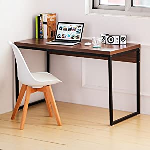 amazoncom merax wood writing desk computer table home office furniture workstation brown home u0026 kitchen