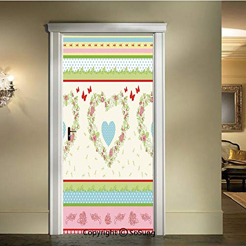 baihemiya Door Wallpaper Murals Wall Stickers,Country-Style-Roses-and-Borders-Butterflies-Ants-Heart-Shapes-Polka-Dots-Decorative,W30.3xL78.7inch,for Home Room DecorMulticolor