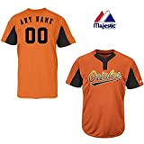 2-Button Cool-Base Baltimore Orioles 2-Color Black/Orange Blank or CUSTOM Back (Name/#) MLB Officially Licensed Baseball Placket Jersey