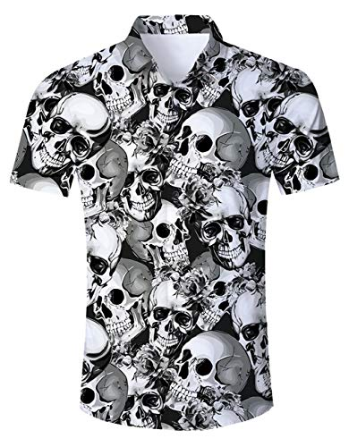Men's Hawaiian Shirt Monochromatic Skeleton Skull Print Beach Aloha Shirt Casual Button Down Short Sleeve Dress Shirt