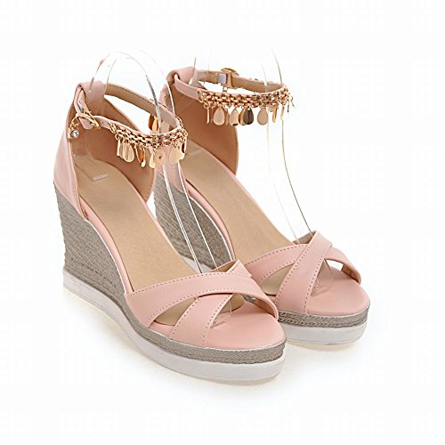 Heeled Sandals Platform Ornament Foot Charm Womens Elegant Metal Pink Wedges w6TF47q