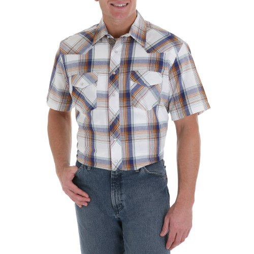 Wrangler Big and Tall Men's Short Sleeve Snap Front Plaid Western Shirt Assorted Plaids - 3XT