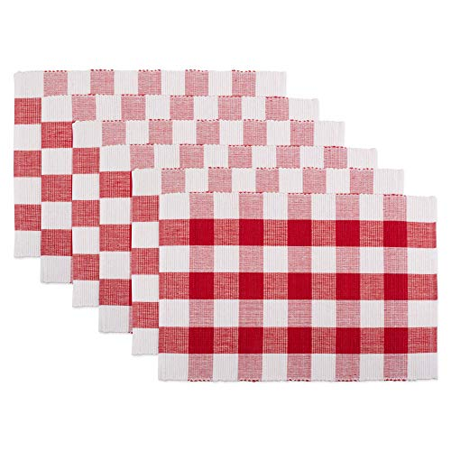 - DII CAMZ11248 100% Cotton, Machine Washable, Everyday Buffalo Check Placemat for Dinner Parties & Holidays, Red