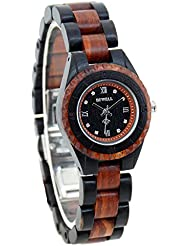 Bewell Womans Wood Watches W128AL Female Wristwatch Small Round Dial Ladies Wooden Watches Lightweight Watch...